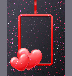 valentines day holiday red frame with shiny heart vector image