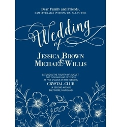 Wedding card template vector image