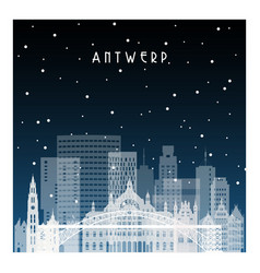 winter night in antwerp night city in flat style vector image