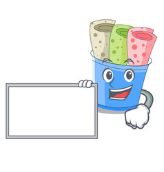 with board rolled ice creams in cartoon cups vector image