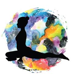 women silhouette pigeon yoga pose kapotasana vector image