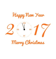 Christmas card with the clock in orange tones vector image vector image