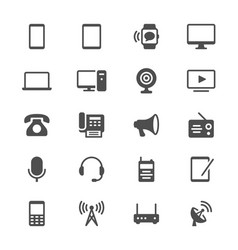 communication device glyph icons vector image vector image