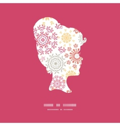 folk floral circles abstract girl portrait vector image