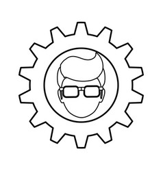 gear frame male faceless glasses vector image vector image