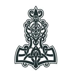 mjollnir thors hammer is an amulet of vikings vector image