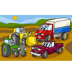 vehicles machines group cartoon vector image vector image