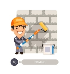 Worker Priming Wall vector image vector image