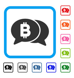 bitcoin chat framed icon vector image