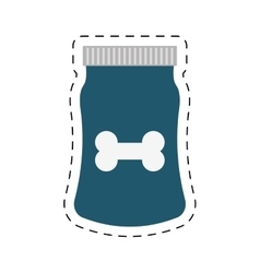 Blue bag food dog and cat nutrition line dotted vector