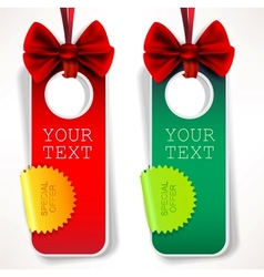 card notes with ribbons red and green invitations vector image vector image