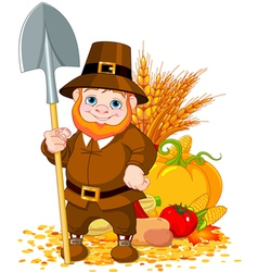Cute pilgrim with spade vector