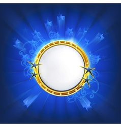 Frame with stars on blue vector image vector image