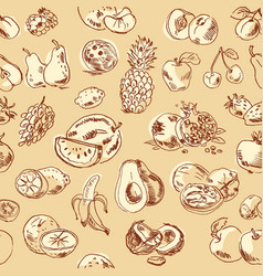Freehand drawing fruit seamless pattern vector