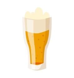 Glass of fresh beer cup with drops and white foam vector image