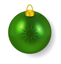Green Christmas ball reflecting light New Year vector image