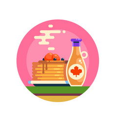 hot tasty pancakes with berries and maple syrup vector image