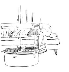modern interior room sketch hand drawn sofa and vector image