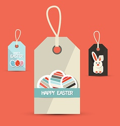 Retro Easter Paper Labels with Rabbit and Eggs vector image vector image