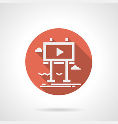 Billboard for promo video red round icon vector
