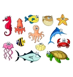 Cartoon sea animals for underwater wildlife design vector image