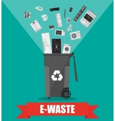 e-waste recycle bin with old electronic equipment vector image vector image