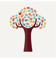 hand print tree for culture diversity and help vector image