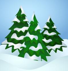 Pine trees covered with snow vector image