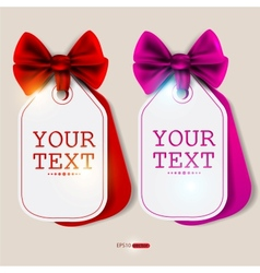 card notes with ribbons red and pink invitations vector image