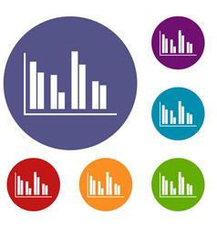 financial analysis chart icons set vector image