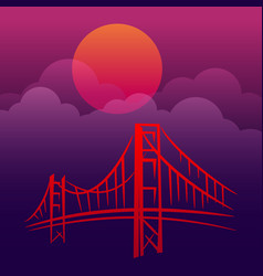 gold gate san francisco landscape vector image