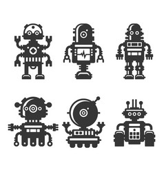 robot icons set on white background vector image vector image