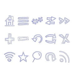 Set of hand drawn web icons and logo internet vector