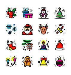 thin line christmas icons set vector image