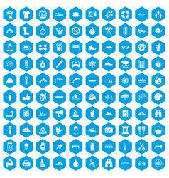 100 rafting icons set blue vector