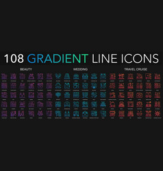 108 trendy gradient style thin line icons set of vector image