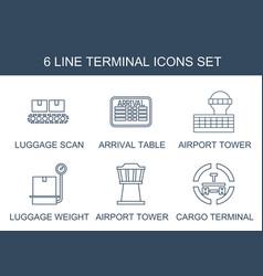 6 terminal icons vector