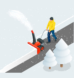 A man cleans snow from sidewalks with snowblower vector
