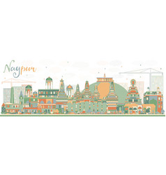 Abstract nagpur skyline with color buildings vector