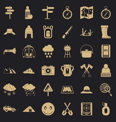 Alpinism icons set simple style vector