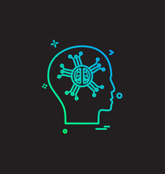 artificial brain intelligence robo icon design vector image