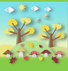Autumn origami landscape vector
