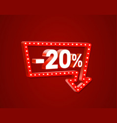 Banner 20 off with share discount percentage neon vector