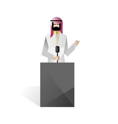bearded arabic businessman speech on tribune vector image