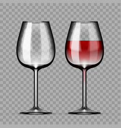 Big reds wine empty glass and with wine vector