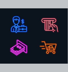 Businessman case credit card and atm money icons vector