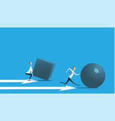 businessman pushing sphere vector image