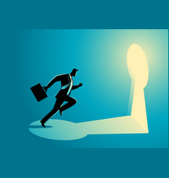 Businessman running towards a key hole vector