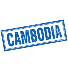Cambodia blue square grunge stamp on white vector