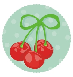 Cherries wrapped with ribbon vector